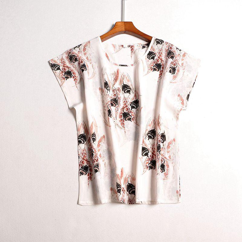 100% Silk Plus Size Blouse Raglan Sleeves Short Sleeve 100% Natural Silk Wear