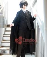 Anime Bungo Stray Dogs cosplay Osamu Dazai cos Halloween party Unisex Time black windbreaker suit costum