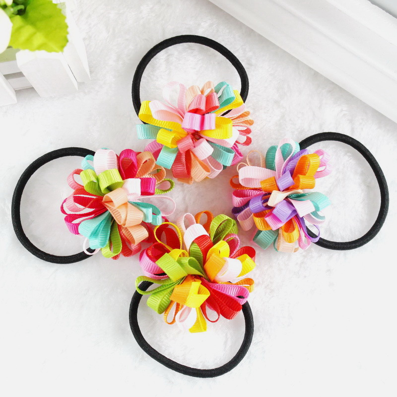TS New 2016 Colorfully Boutique Bows Elastic Hair band for girl and woman hair Accessories Ribbon Bow Hair Tie Rope Hair Band бинт peha crepp 4 м 10 см фиксирующий
