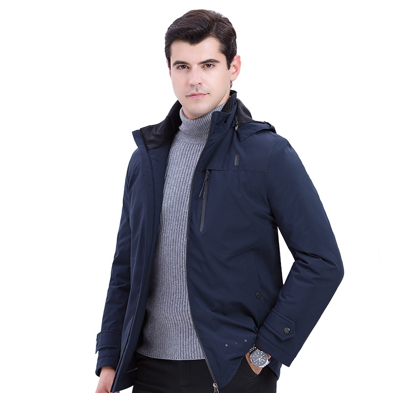 Mens Duck Down Jacket Hooded Outwear Hat Detachable Down Coat for Men Male ...