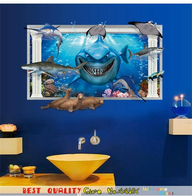 3D Jaws Shark Wall Stickers Kids Room Decoration Chiristmas Gifts Party  Supplies HOme Decoration Wall Decals