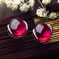 S925 Sterling Silver Stud Earrings Red Corundum 925 Silver Earring for Women Jewelry Blue Black LE32