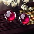 S925 Sterling Silver Stud Earrings Red Corundum 925 Silver Earring for Women Jewelry Blue Black LE32