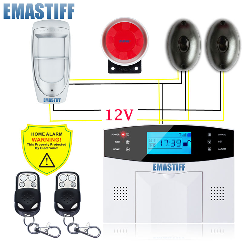 Free Shipping!7 wired zone GSM Alarm System For Home security System with Wired Outdoor PIR/Beam Infrared sensor burglar alarm рубашки