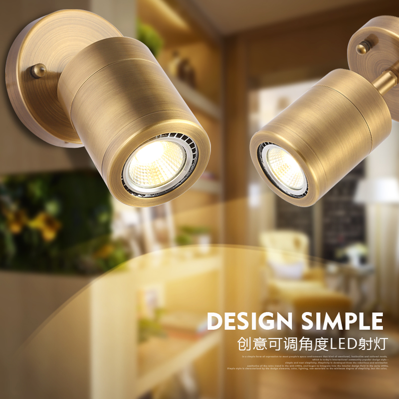 цена на Nordic industrial LED brass wall lamp clothing store with the whole sitting room tube light cafe bar copper lamp