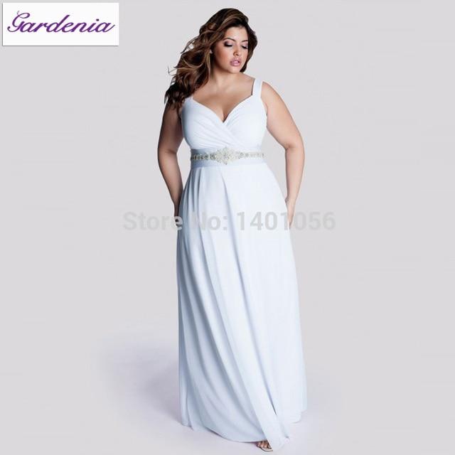 Robe De Mariage Plus Size Casual Beach Wedding Dress Long Chiffon ...