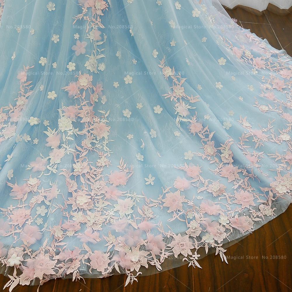 Luxury Arab Wedding Dress Blue Lace Pink Flowers Turkey Country ...
