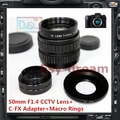50mm F1.4 CCTV TV Lens + C Mount Adapter for Fujifilm Fuji FX series X-A1 X-T1 X-T10 X-pro1 X-pro2 X-E1 X-E2 X-M1 X-A2 Camera