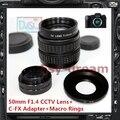 50mm f1.4 cctv tv lens c + adaptador de montagem para fujifilm fuji série FX X-T1 X-A1 X-T10 X-pro2 X-pro1 X-E1 X-E2 X-M1 Câmera X-A2