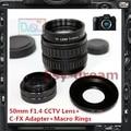 50mm f1.4 cctv tv lente c montaje adaptador para fujifilm fuji serie FX X-E1 X-pro1 X-pro2 X-T10 X-T1 X-A1 X-E2 X-M1 Cámara X-A2