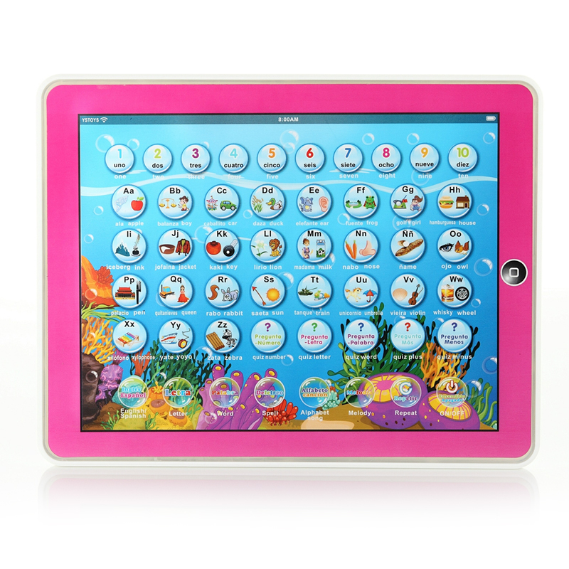 Y-Pad English + Spanish Baby Kids Children Learning Study Machine Computer Tablet Funny Educational Toys for Children Boys Girls