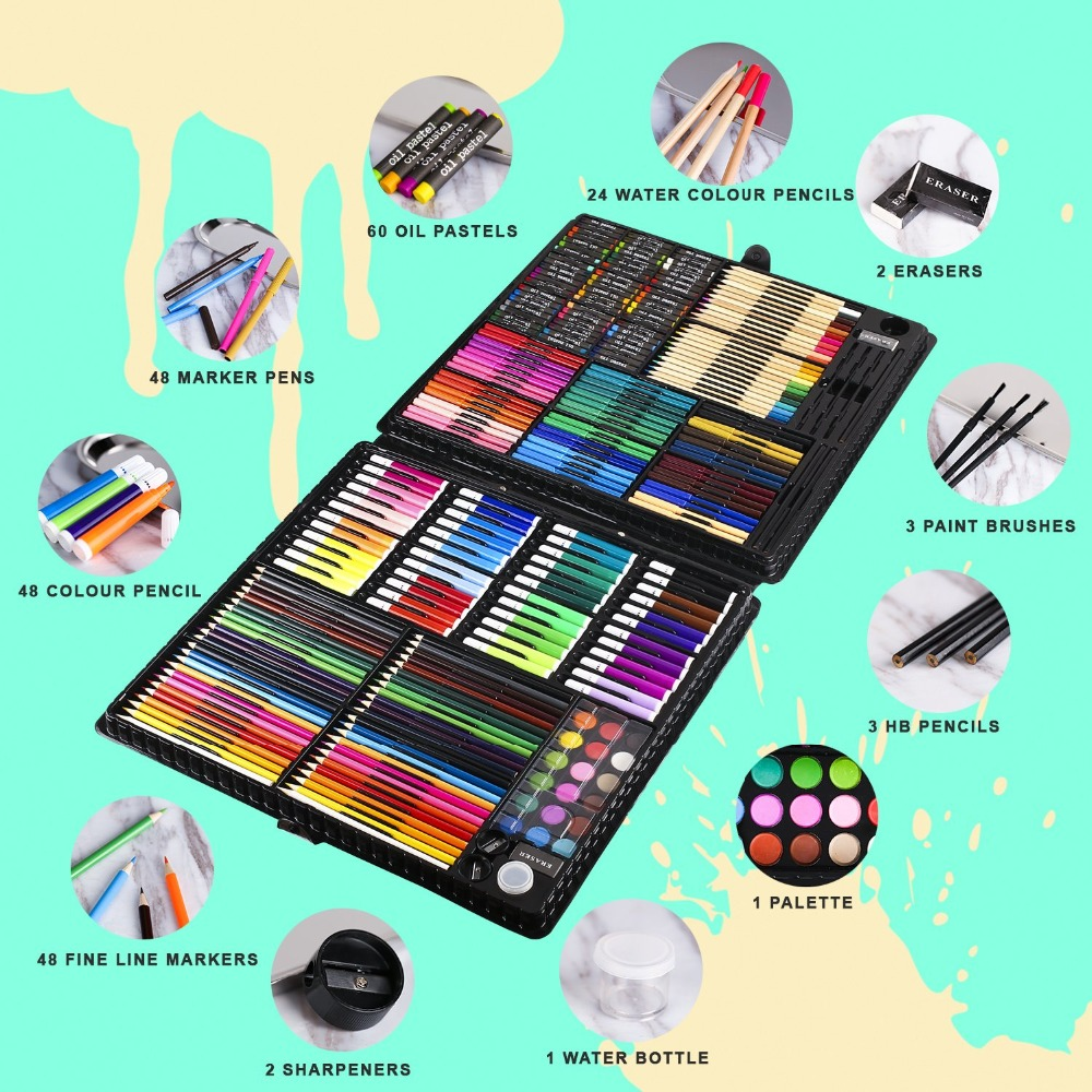 Image 5 - 258 Pcs Drawing Set Children Painting Art Set Kit Crayon Colored Pencil Watercolor School Art Supplies Paint Brush For Drawing-in Art Sets from Office & School Supplies