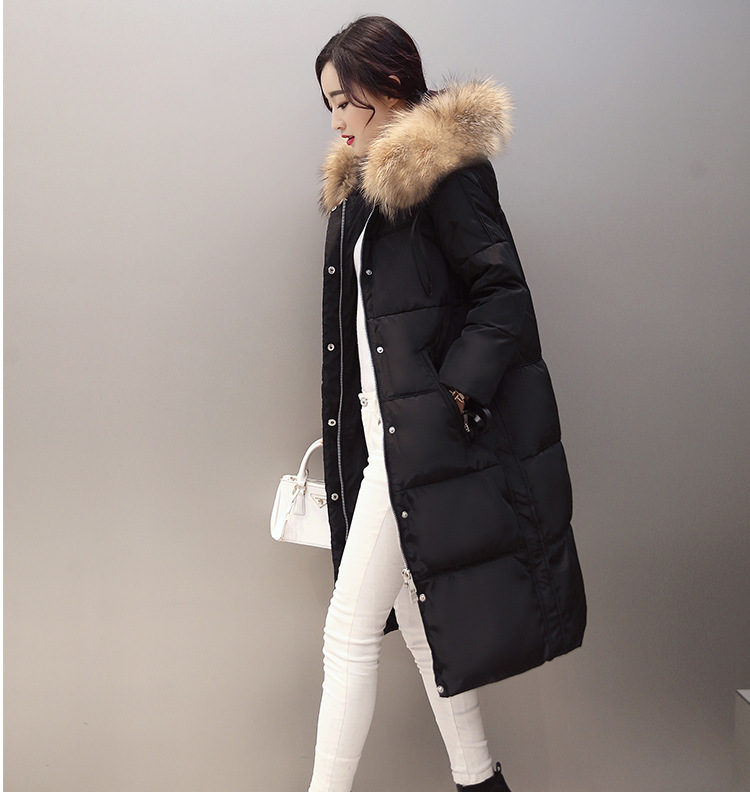 Winter Large Raccoon Fur Removable Collar Long Thicken Down Jackets hooded Warm Snow Outerwear Down Coats Parkas YR19 2015 new hot winter thicken warm woman down jacket coat raccoon fur collar hooded parkas outerwear plus size 4xxxxl