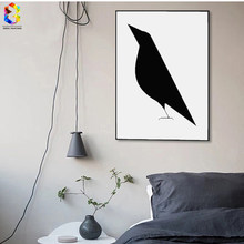 Nordic Minimalist Animal Art Canvas Print Painting Poster , Crow Wall Pictures For Home Decoration, Kids Room Decor(China)