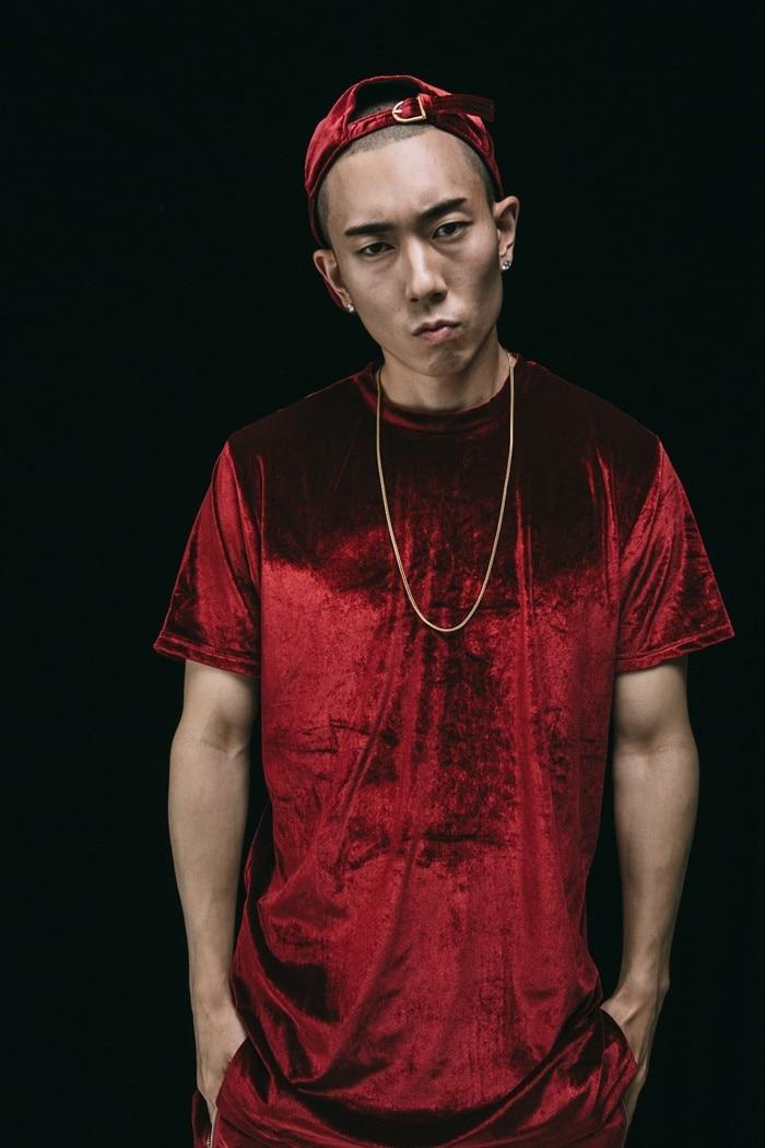 Kanye в стиле хип-хоп Футболка Мода имеет тенденцию велюр человек улица футболка сплошной цвет обычный любитель повседневные топы сторон молнии Тонкий S-2XL