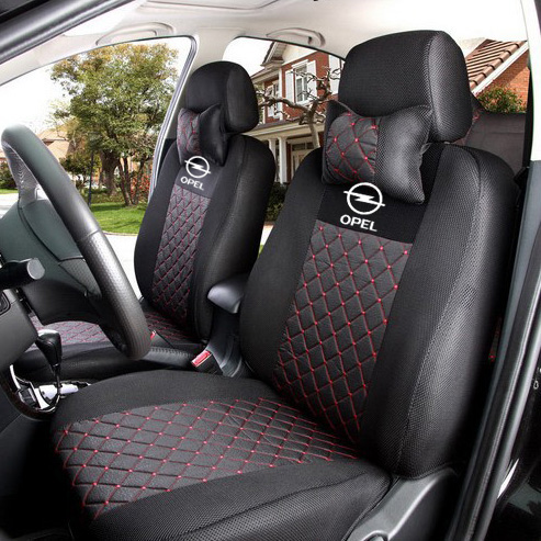 grey/red/black silk breathable Embroidery logo Car Seat Cover For Opel Zafira Meriva Ampera Astra Agila Corsa with neck for opel astra zafira meriva ampera agila corsa new brand luxury soft pu leather car seat cover front