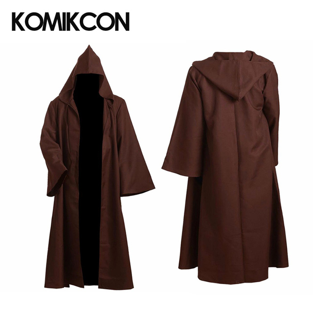 8da03c61d9 Star Wars Jedi Robe Obi Wan Kenobi Cosplay Costume Brown Cloak With Hat  Halloween Christmas Party Cape Outfit For Man Woman