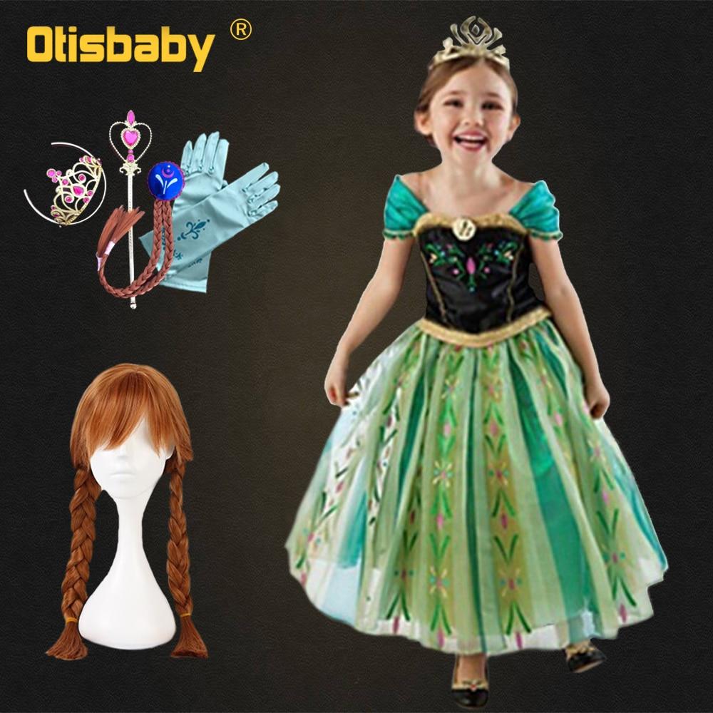 Verão 2019 natal bebê menina anna vestido princesa elsa fantasiar-se menina cosplay trajes anna peruca fantasia infantil fada vestido