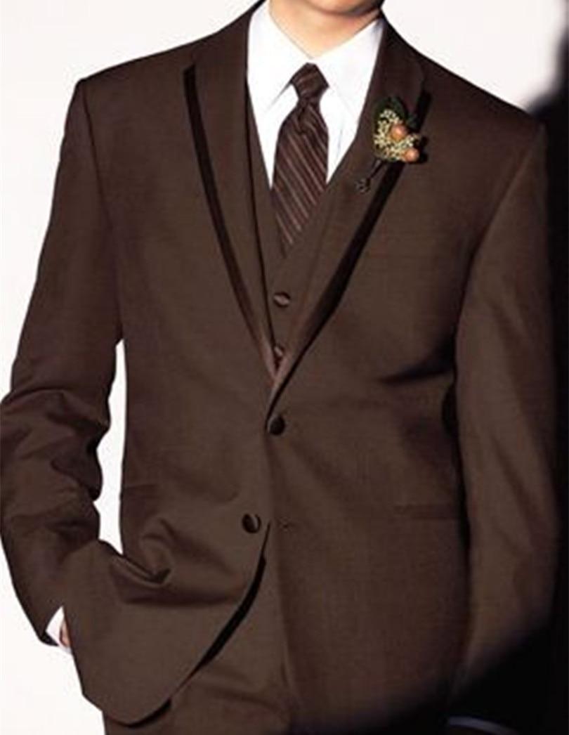 mens brown suit jacket wedding suits men designer blazer 3 piece custom made - yan xiong's store