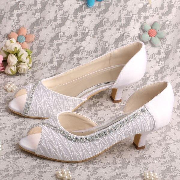 Wedopus Top Selling Women Dress Shoes Wedding Mid Heel White Satin
