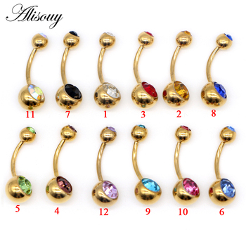 1pc G23 Titanium Navel Rings Gold Anodized Belly Button Piercing Navels Double Crystal Fashion Ombligo for Women 14G Jewelry 2
