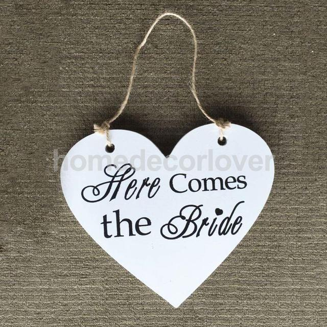 heart shape here comes the bride sign wedding wooden plaque