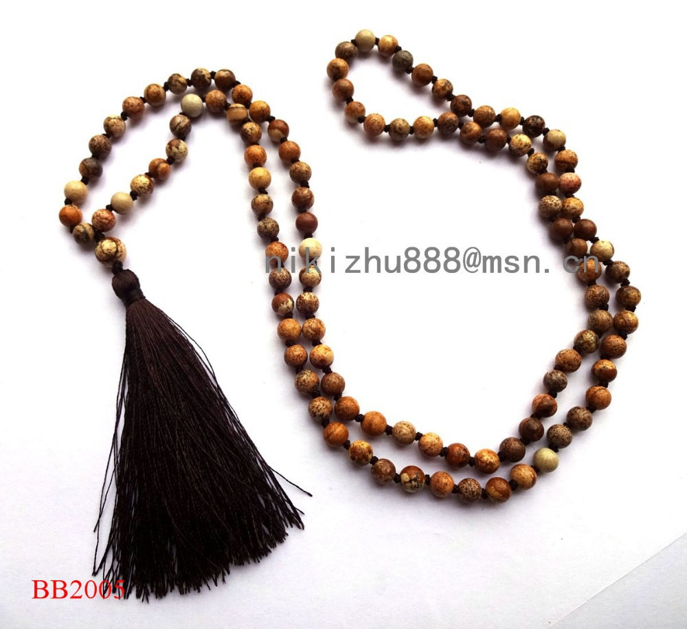 Hotsale fashion new design natural stones picture stone necklace ,necklace tassel and semi-precious women's necklaces