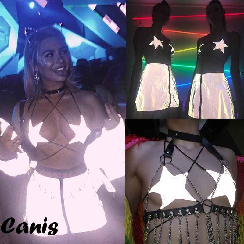 New Sexy Women Star Bra Clubwear Bandage Top Ladies Starfish Reflective T shirt Night Club