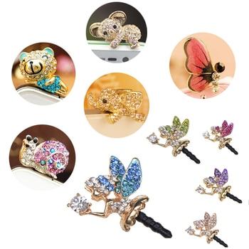 New Universal Cute Diamond Cats Audio 3.5mm Headphone Jack Anti Dust Plug Mobile Phone Accessories Earphone Headset Dust Plugs