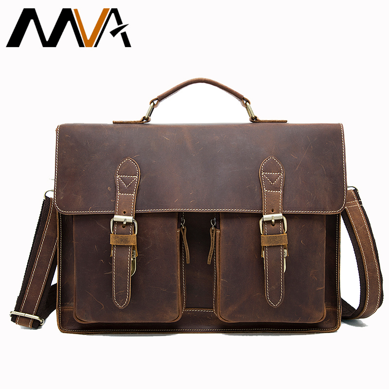 MVA Crazy Horse Leather <font><b>Briefcases</b></font> for Document Totes Messenger Bag Men Shoulder Bags Business Men <font><b>Briefcase</b></font> Laptop bag 9033