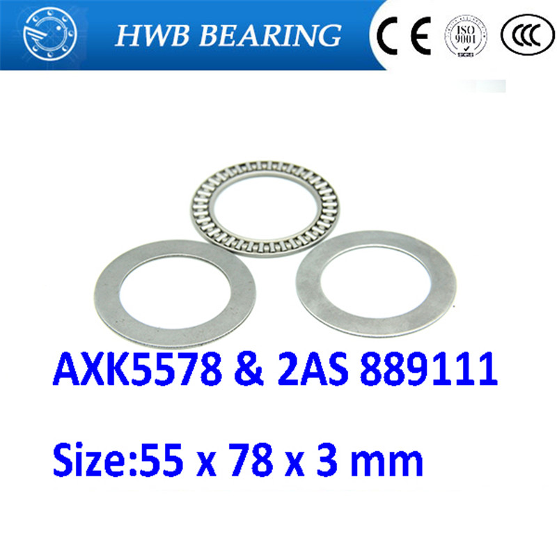 2 pcs AXK5578 55x78 Needle Roller Thrust Bearing complete with 2 AS washers