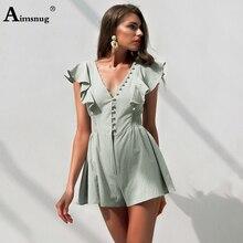 купить Boho Light Green Solid Ruffle Detail Deep V Neck Romper Women Summer Sleeveless Playsuit 2019 Button Waist Sexy Wide-leg Romper онлайн
