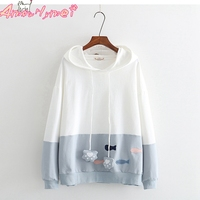 Autumn Women Kawaii Small Fish Embroidery Hooded Sweatshirt Mori Girl Pullover