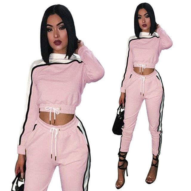 c40da92099 Pink 2pcs Casual Women Set Tracksuit Hoodies Sweatshirt And Side Stripe  Cargo Pants Sets Women Clothing