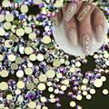 DULCE TENDENCIA 1440 Unids/pack Oro AB Posterior Plana Piedras de Cristal 3D Nail DIY Cristal Brillante de Lentejuelas de Diamante Herramienta de Uñas Brillante NJ246