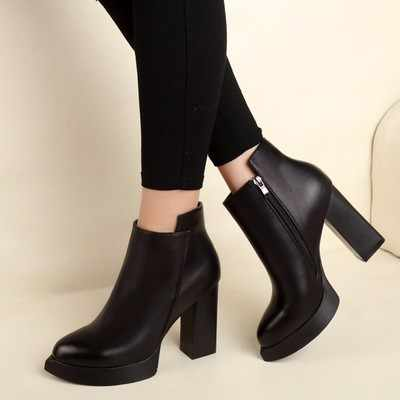 SZSGCN428 Women's Ankle Rain Boots Autumn Oxford Plain Shoes Woman Dress Zipper Shoe Formal OL High Heels Lady Black Footwear