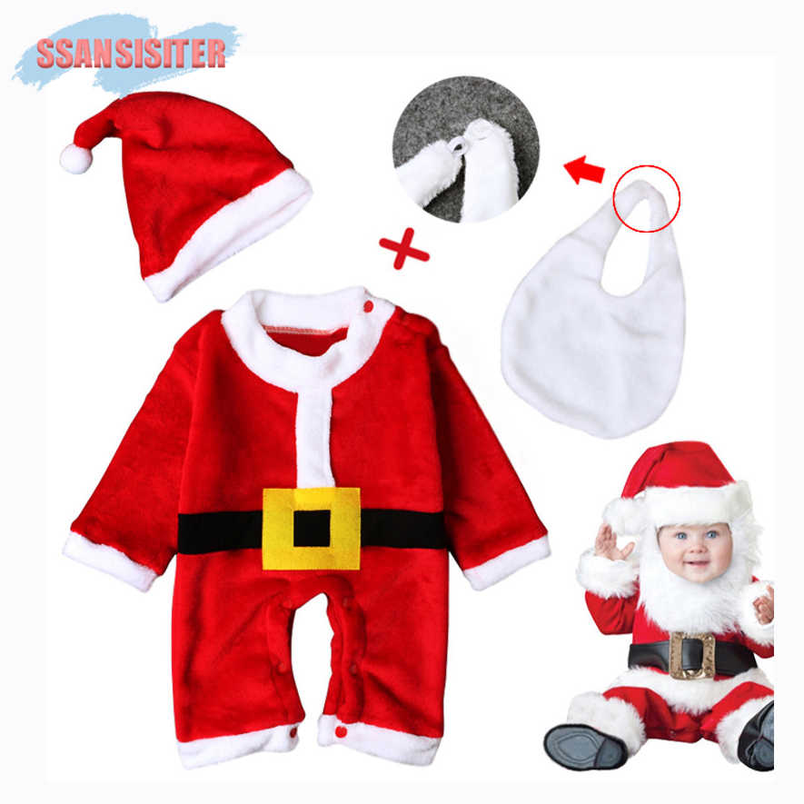 c4d19164cac4b 3PCS/Sets Baby Christmas Santa Claus Cosplay Rompers Newborn Boys Girls  Romper Infant Clothing Clothes
