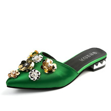 Summer slipper Women Half Slippers Floral Sequined Rhinestone Flats Casual Sandals Silk Mules Slipper Large size 35-42