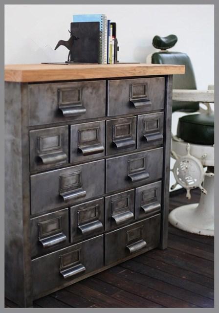 American Industrial Metal Cargo Retro Corner Cabinet