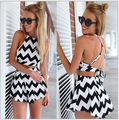 2016 New Summer Sexy Women Crop Top Short Pants 2 Piece Set Fashion Black White Wave Print Suits