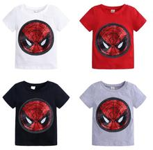 New face magic color sequins Spider-Man Captain America cartoon fashion T-shirt childrens shirt boy 2-8 years old