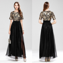 Beauty-Emily Vintage Chiffon Evening Dress Boat Neck Cocktail Formal Swing Special Occasion Dresses robe de soiree