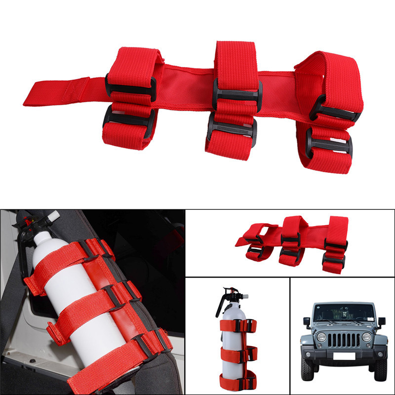 1pc Red Roll Bar Fire Extinguisher Holder For Jeep Wrangler ATV UTV TJ YJ JK CJ