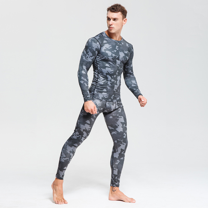 Suit T-Shirt Clothing Rashgard-Kit Thermal-Underwear Bodybuilding Winter Camouflage