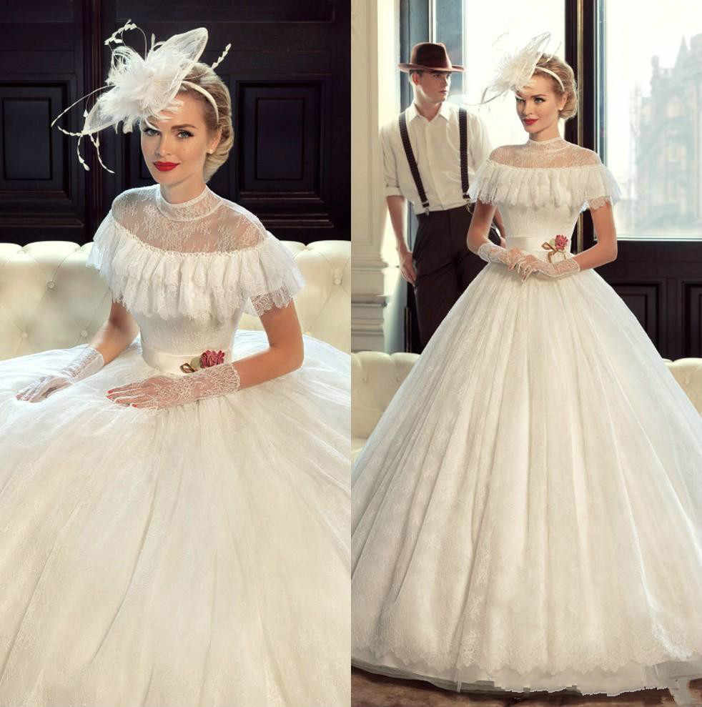 Princess Victorian Vintage Wedding Dresses Lace 2019 Ball Gown
