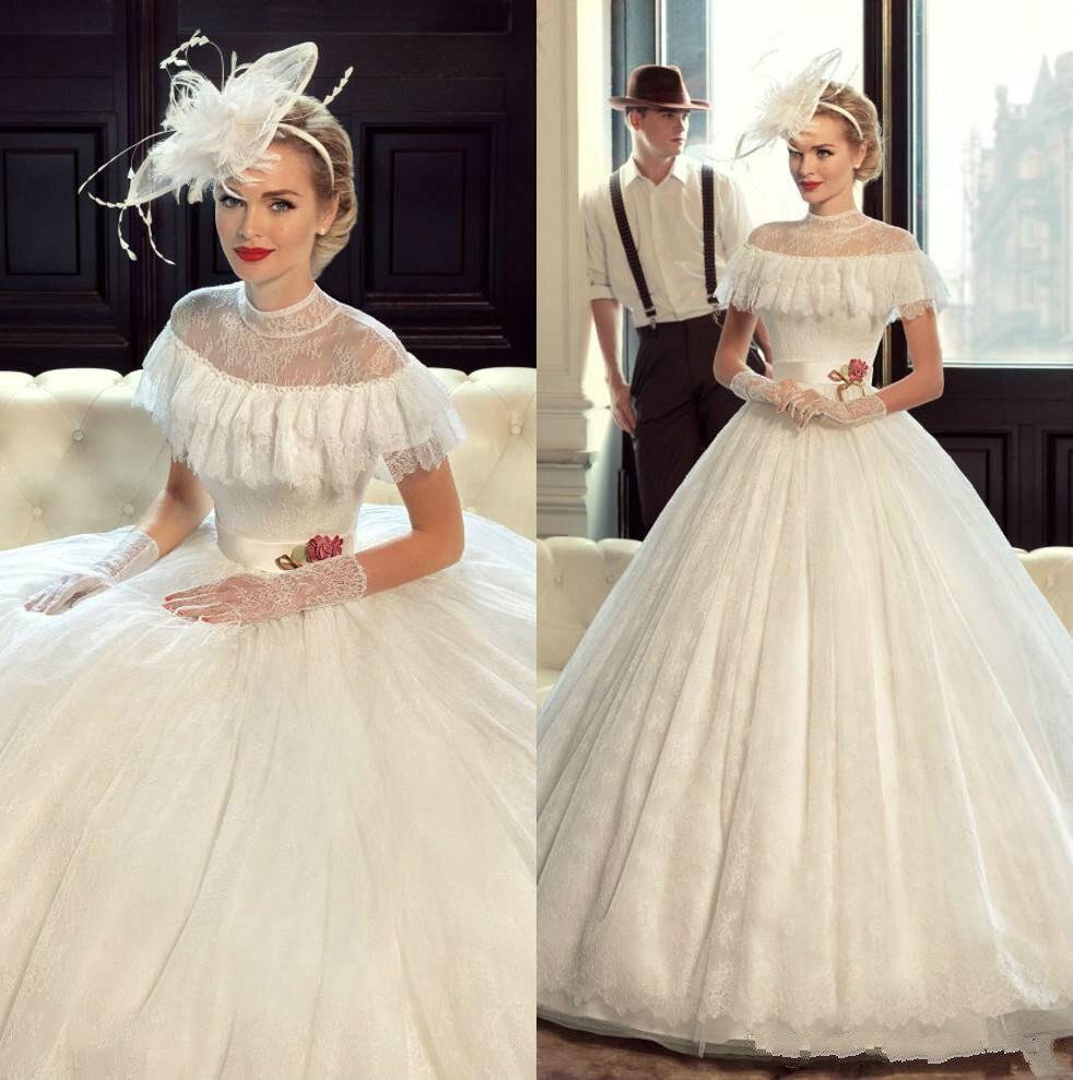 Popular victorian wedding dresses buy cheap victorian wedding - Princess Victorian Vintage Wedding Dresses Lace 2017 Ball Gown Custom Made High Neck Floor Length Castle