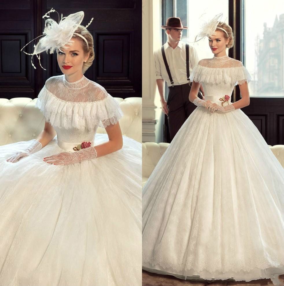 Princess Victorian Vintage Wedding Dresses Lace 2019 Ball