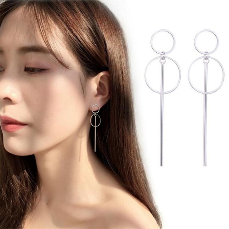 Size Of Circle Long Earrings Korean Style Female Simple Geometric Silver Bts Earrings For Women
