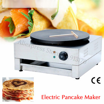 цена на Electric Pancake Crepe Machine Stainless Steel Electric Crepe Griddle Snack Street Restaurant Masala Dosa Maker 40cm Round Pan