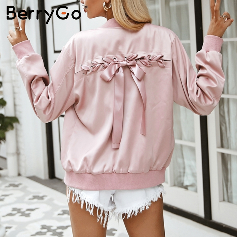 BerryGo Elegant lace up basic jacket coat Women pink satin pocket biker jacket outwear Autumn winter casual zipper bomber jacket